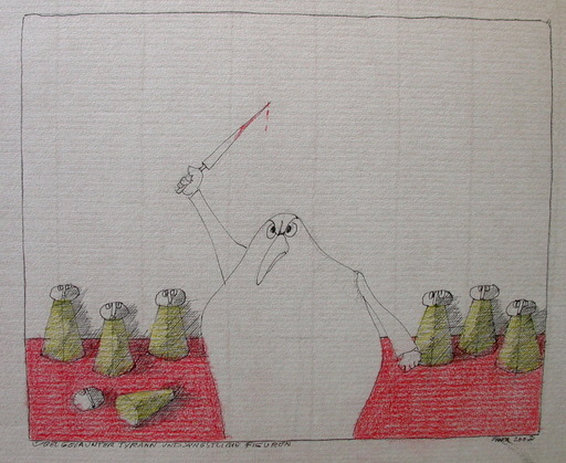 Paul FLORA - Dibujo Acuarela - Übel gelaunter Tyrann und ängstliche Figuren