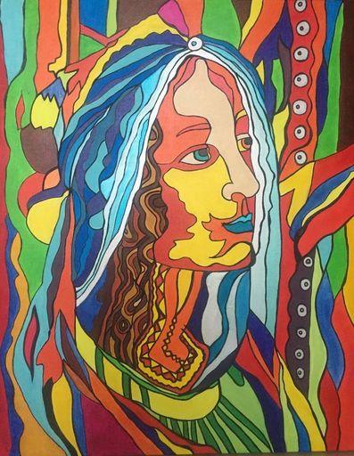 Katie GUITTARD - Peinture - Sainte CATHERINE revisité de Botticelli