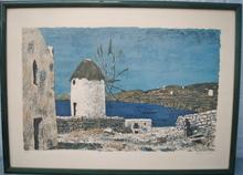 Roland OUDOT - Estampe-Multiple - Moulin à vent. Palma de Majorque.