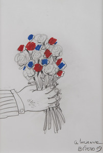 Fernando BOTERO - Zeichnung Aquarell - Bouquet de fleurs