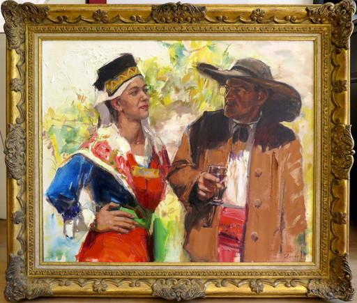 Jean Bernard LALANNE - Pittura - Couple de Bethmalais