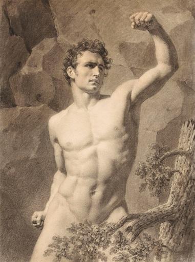 Eugène LARIVIERE - Drawing-Watercolor - Académie d'homme au bras levé