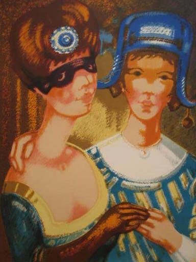 Pierre BAUDIN - 版画 - Les deux amies,1985.