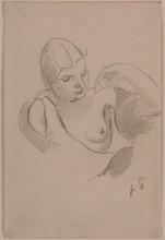 Julio GONZALEZ - 水彩作品 - Femme au sein nu
