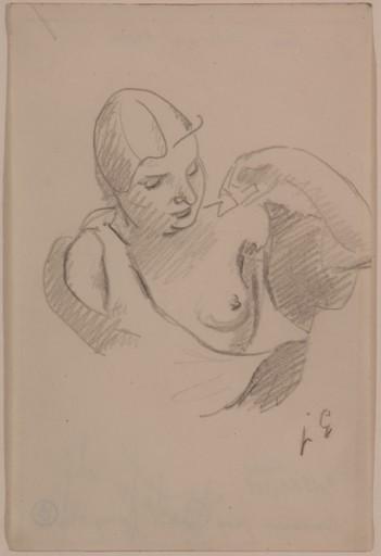 胡里奥·冈萨雷斯 - 水彩作品 - Femme au sein nu