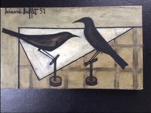 Bernard BUFFET - Painting - Deaux merles Noirs