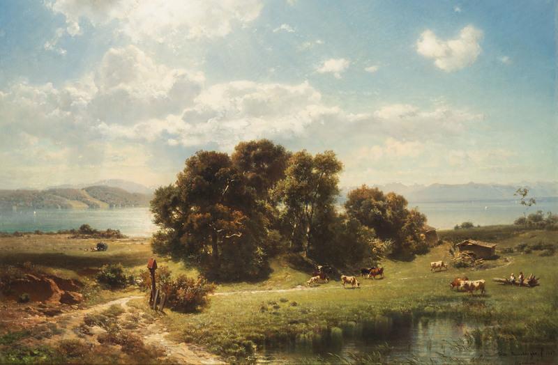 Fritz BAMBERGER - Pintura - Sommertag am Starnberger See