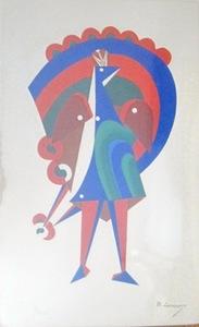 Mikhail LARIONOV - Print-Multiple - Costume mecanique Un Paon