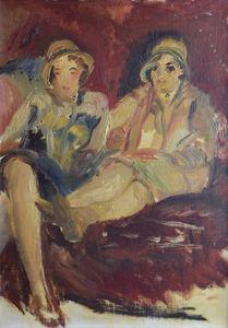 Abraham MINTCHINE - Peinture - Interior with a Parrot