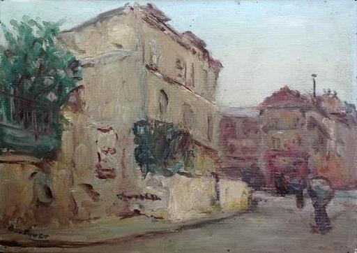 Georges BOUSQUET - Painting - Paris: la rue Norvins à Montmartre