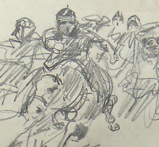 Ulpiano CHECA Y SANZ - Dibujo Acuarela - Les Barbares -études de l'œuvre à Rome