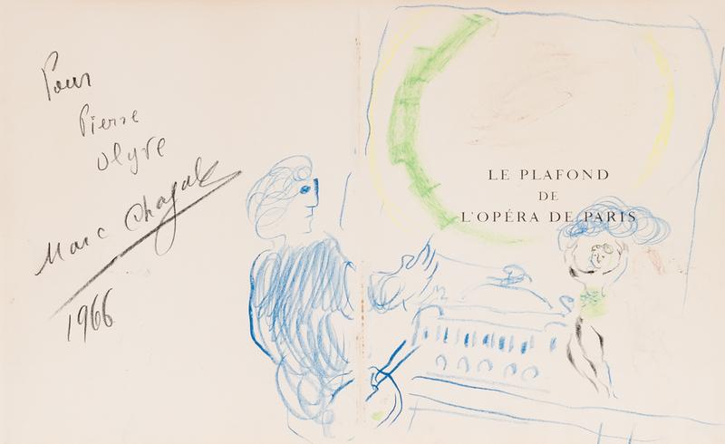 Marc CHAGALL - Drawing-Watercolor - Le plafond de l'Opéra de Paris