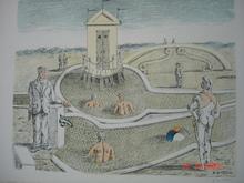 Giorgio DE CHIRICO - Grabado - La cabina nei bagni misteriosi
