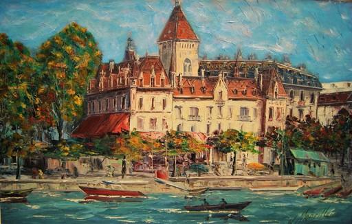Henri MOREILLON - Pintura - Chateau du port d'Ouchy. Lausanne Suisse