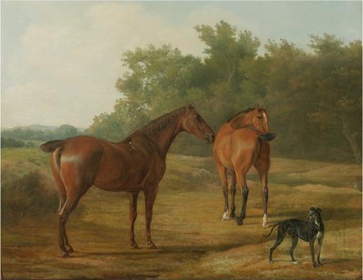 Jacques Laurent AGASSE - Painting - Deux chevaux et lévrier