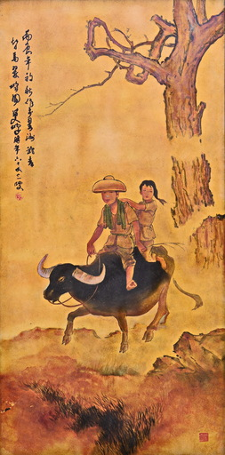 LEE Man Fong - Painting - RIDING A WATER BUFFALO