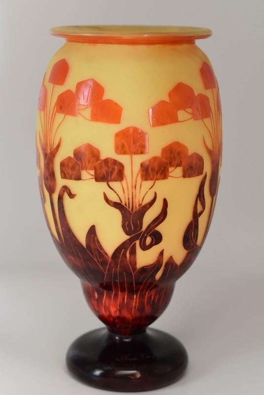 "Charles SCHNEIDER - Le Verre Français - Grand vase ""Yucca"""