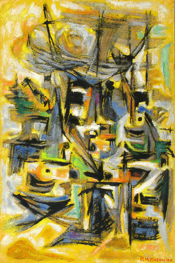 Paul Maurice CHEVALIER - Painting - Composition on Yellow backround