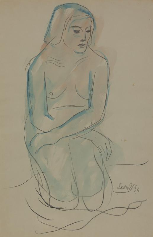Leon UNDERWOOD - Zeichnung Aquarell - Kneeling Nude