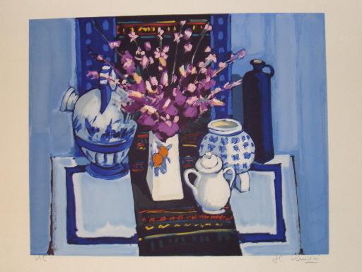 """Jean-Claude QUILICI - Estampe-Multiple - """"Vase au bouquet japonais"""" 1994"""