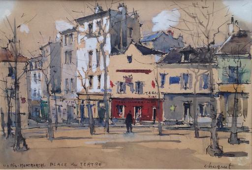 Jules Charles CHOQUET - Dibujo Acuarela - Place du Tertre, Montmartre, Paris
