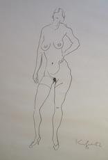 Alfred KORNBERGER - Drawing-Watercolor - Akt stehend
