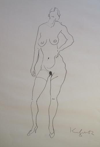 Alfred KORNBERGER - Dibujo Acuarela - Akt stehend