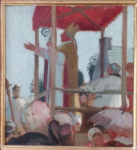 Maurice DENIS - Painting - Sermon de l'évèque à Sainte-Anne-La-Palud