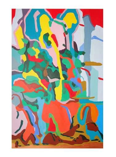 Sébastien COUEFFIC - Peinture - Les pins chuchoteurs sur un chemin de montagne d'après Tang