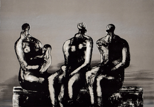 Henry MOORE - Print-Multiple - Three Seated Figures with Children