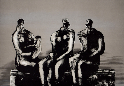 亨利•摩尔 - 版画 - Three Seated Figures with Children