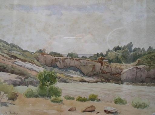 Adolphe POTTER - Dibujo Acuarela - paysage aux rochers