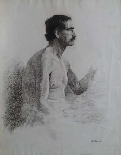 "Karl MEDIZ - Disegno Acquarello - ""Male Nude"" by Karl Mediz, late 19th Century"