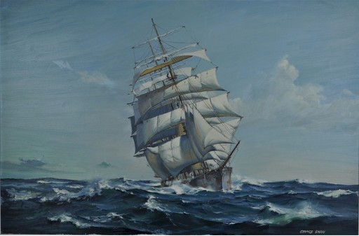 George SHAW - Painting - Study of a clipper under full sail, in choppy sea