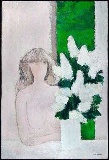 Bernard CATHELIN - Painting - Claudine et Lilies