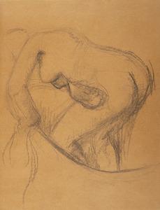 Edgar DEGAS - Disegno Acquarello - Baigneuse au tub