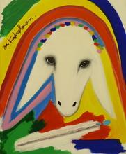 Menashe KADISHMAN - Painting - Colorful sheep head with paintbrush