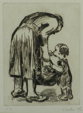 Käthe KOLLWITZ - Print-Multiple - Woman Feeding Child