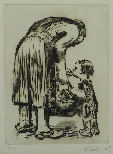 Käthe KOLLWITZ - Grabado - Woman Feeding Child