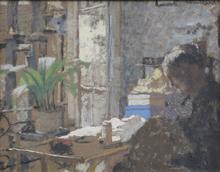 爱德华•(让) •维亚尔 - 绘画 - Madame Vuillard cousant - Étude de femme assise (recto/verso