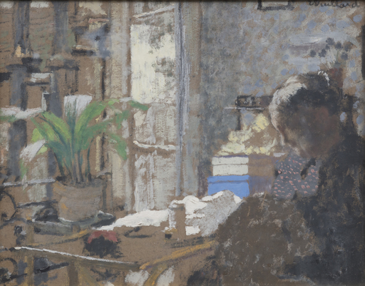 Édouard VUILLARD - Peinture - Madame Vuillard cousant - Étude de femme assise (recto/verso