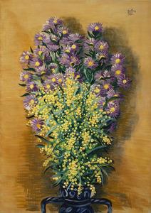 Moïse KISLING - Peinture - Dahlias et mimosas