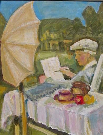 Rolf DIENER - Painting - Selbstporträt im Garten