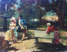 Georges CLAIRIN - Pintura - Gallant scene at the fountain