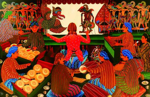 KUSBUDIYANTO - Painting - Pupet Shadow Show
