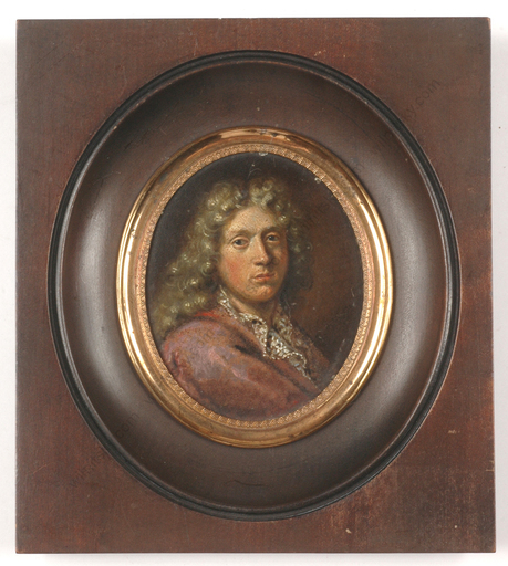 "Jacques VAN SCHUPPEN - Miniatur - ""Portrait of an Austrian (?) aristocrat"", oil on tin miniatu"