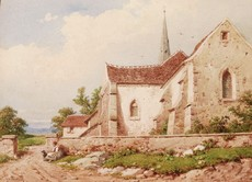 Joseph Laurent PELLETIER - Drawing-Watercolor - Femme et chien devant une église