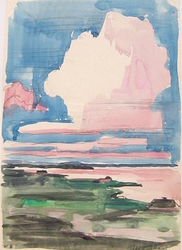 Paul MECHLEN - Drawing-Watercolor - Küste unter hohem Himmel.