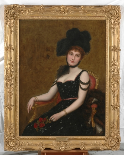 "Frank Markham SKIPWORTH - Painting - ""Lady in Black"", 1900, Large Oil Painting"