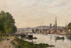 Eugène BOUDIN - Gemälde - Rouen, Vue prise du cours La Seine, Soir